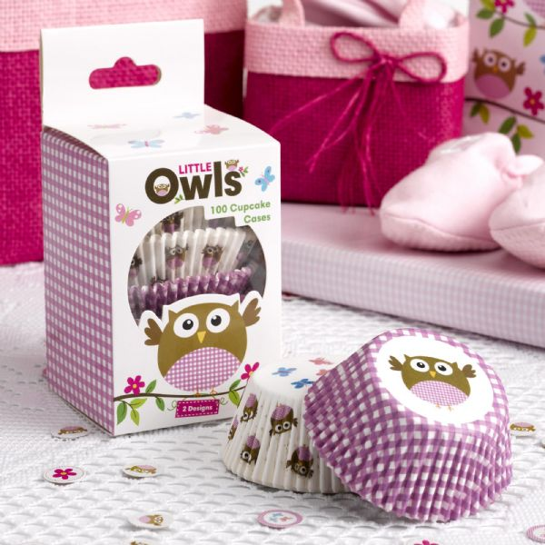 Little Owls Pink Cupcake Cases (100)